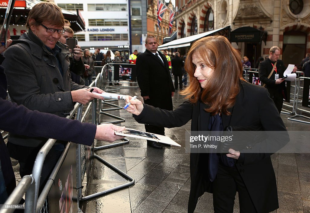 Actress <a gi-track='captionPersonalityLinkClicked' href=/galleries/search?phrase=Isabelle+Huppert&family=editorial&specificpeople=662796 ng-click='$event.stopPropagation()'>Isabelle Huppert</a> attends the 'Abuse Of Weakness' screening during the 57th BFI London Film Festival at the Odeon West End on October 14, 2013 in London, England.