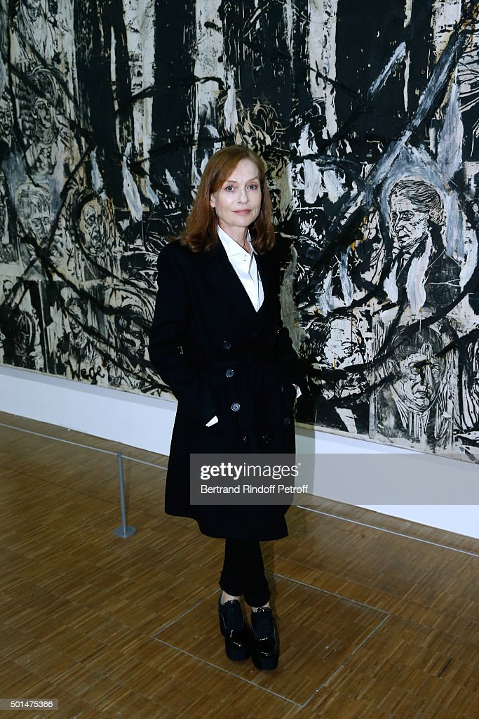 Actress <a gi-track='captionPersonalityLinkClicked' href=/galleries/search?phrase=Isabelle+Huppert&family=editorial&specificpeople=662796 ng-click='$event.stopPropagation()'>Isabelle Huppert</a> attends the Anselm Kiefer's Exhibition : Press Preview, held at Centre Pompidou on December 15, 2015 in Paris, France.