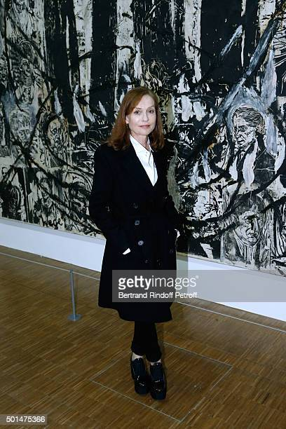 Actress Isabelle Huppert attends the Anselm Kiefer's Exhibition Press Preview held at Centre Pompidou on December 15 2015 in Paris France