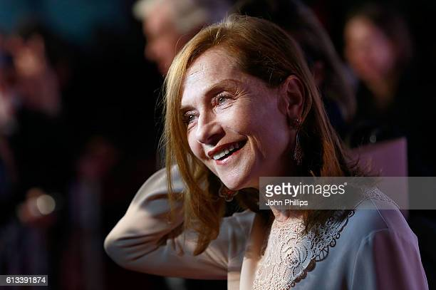 Actress Isabelle Huppert attends the 'Elle' Official Competition screening during the 60th BFI London Film Festival at Embankment Garden Cinema on...