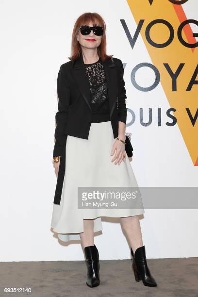 Actress Isabelle Huppert attends the photocall for Volez Voguez Voyagez Louis Vuitton Exhibition at DDP on June 7 2017 in Seoul South Korea