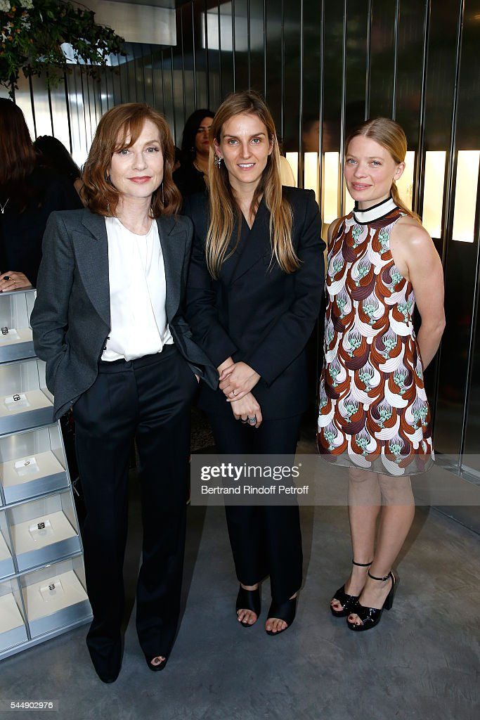 Actress Isabelle Huppert, Creative director of the Italian jewellery brand Repossi, Gaia Repossi and actress Melanie Thierry attend the Repossi Vendome Flagship Store Inauguration at Place Vendome on July 4, 2016 in Paris, France.