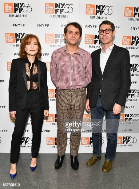 Actress Isabelle Huppert director Serge Bozon and producer David Thion attend the premiere of 'Mrs Hyde' during the 55th New York Film Festival at...