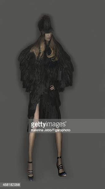 Actress Isabelle Huppert is photographed for Madame Figaro on June 16 2014 in Paris France Coat and hat shoes PUBLISHED IMAGE CREDIT MUST READ...