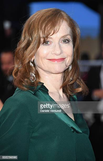 Actress Isabelle Huppert leaves the 'Elle' Premiere during the 69th annual Cannes Film Festival at the Palais des Festivals on May 21 2016 in Cannes...