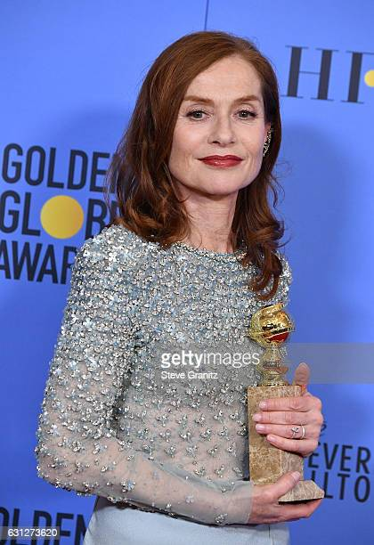 Actress Isabelle Huppert poses in the press room during the 74th Annual Golden Globe Awards at The Beverly Hilton Hotel on January 8 2017 in Beverly...