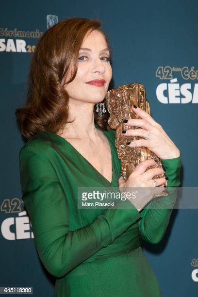 Actress Isabelle Huppert poses with her award at the Cesar Film Awards 2016 at Salle Pleyel on February 24 2017 in Paris France