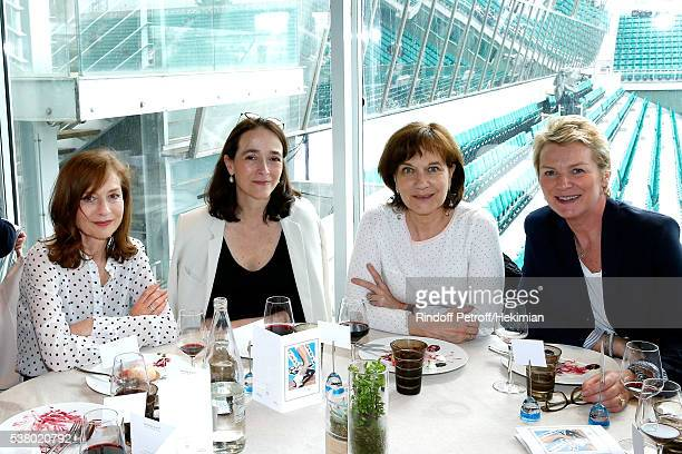 Actress Isabelle Huppert President of France Television Delphine Ernotte guest and journalist Elise Lucet attend the 'France Television' Lunch during...