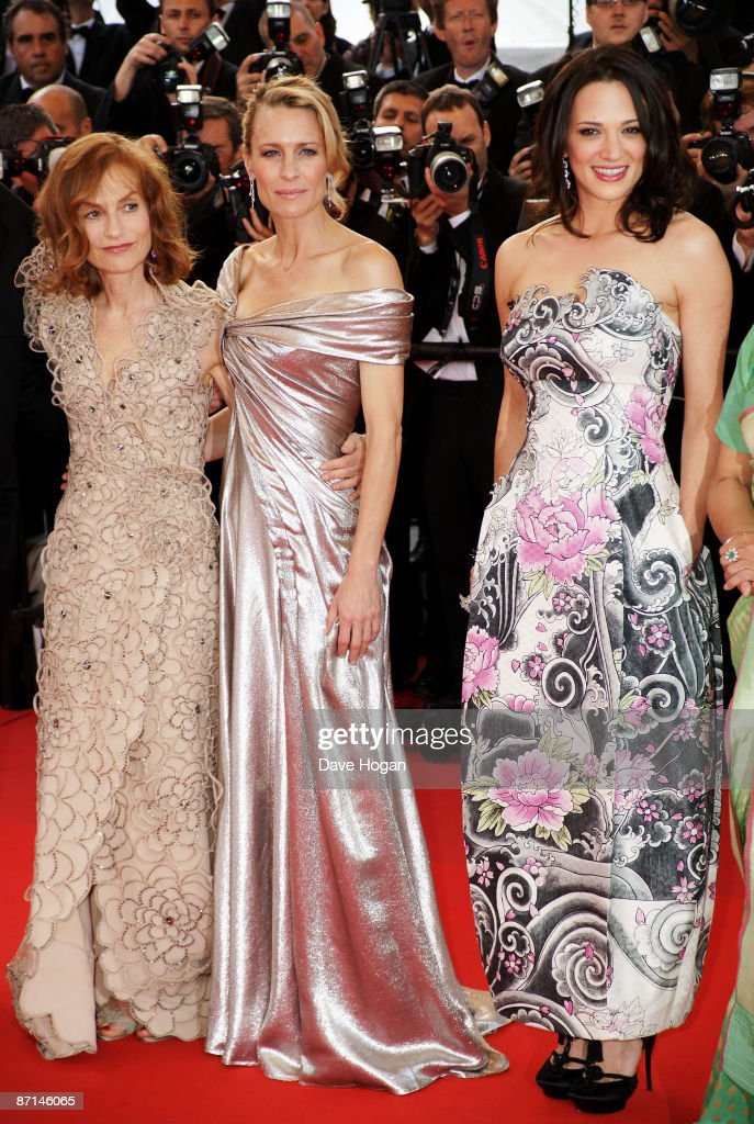 Actress Isabelle Huppert, Robin Penn Wright and Asia Argento attend the 'Up' Premiere at the Palais De Festival during the 62nd International Cannes Film Festival on May 13, 2009 in Cannes, France.