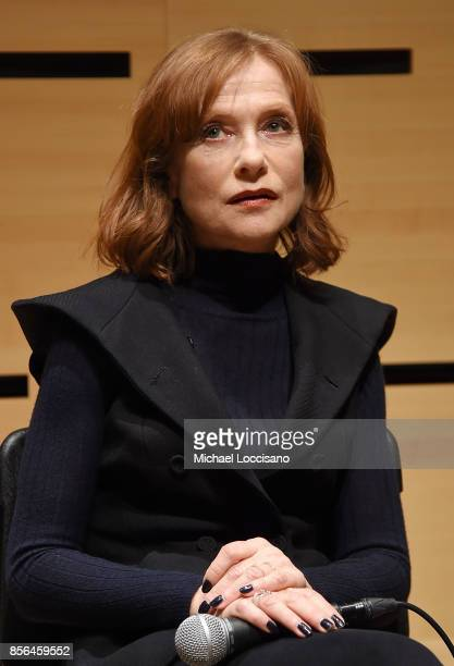 Actress Isabelle Huppert takes part in a discussion about the film 'Making Mrs Hyde' during the 55th New York Film Festival at the Howard Gilman...