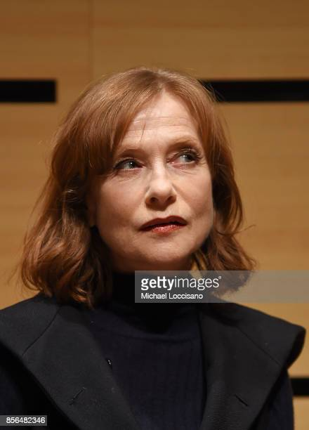 Actress Isabelle Huppert takes part in a discussion about the film Making Mrs Hyde during the 55th New York Film Festival at the Howard Gilman...