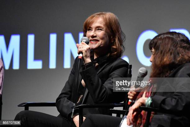 Actress Isabelle Huppert takes part in a QA following a screening of 'Mrs Hyde' during the 55th New York Film Festival at Alice Tully Hall Lincoln...