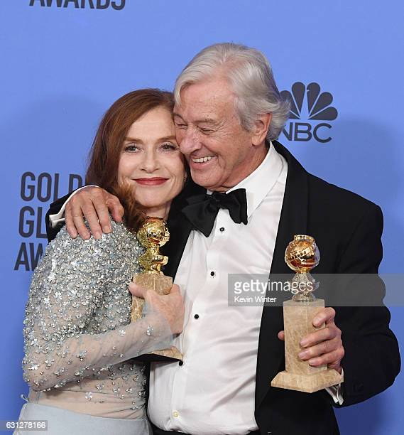 Actress Isabelle Huppert winner of Best Actress in a Motion Picture Drama for 'Elle' and director Paul Verhoeven winner of Best Foreign Language Film...