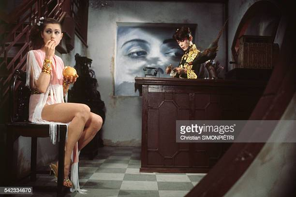 Actress Isabelle Iliers on the set of movie Fruits of Passion directed by Shuji Terayama the followup to Histoire d'O