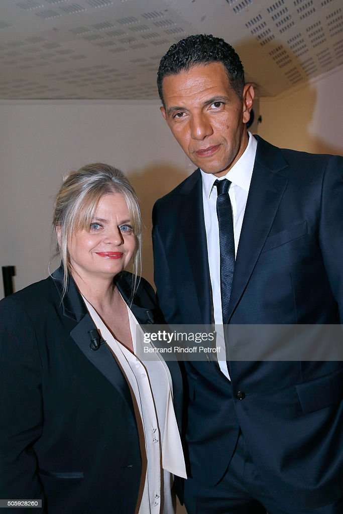 Actress Isabelle Nanty and Actor and Director Roschdy Zem attend the 'Vivement Dimanche' French TV Show at Pavillon Gabriel on January 20, 2016 in Paris, France.