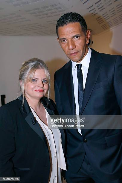 Actress Isabelle Nanty and Actor and Director Roschdy Zem attend the 'Vivement Dimanche' French TV Show at Pavillon Gabriel on January 20 2016 in...