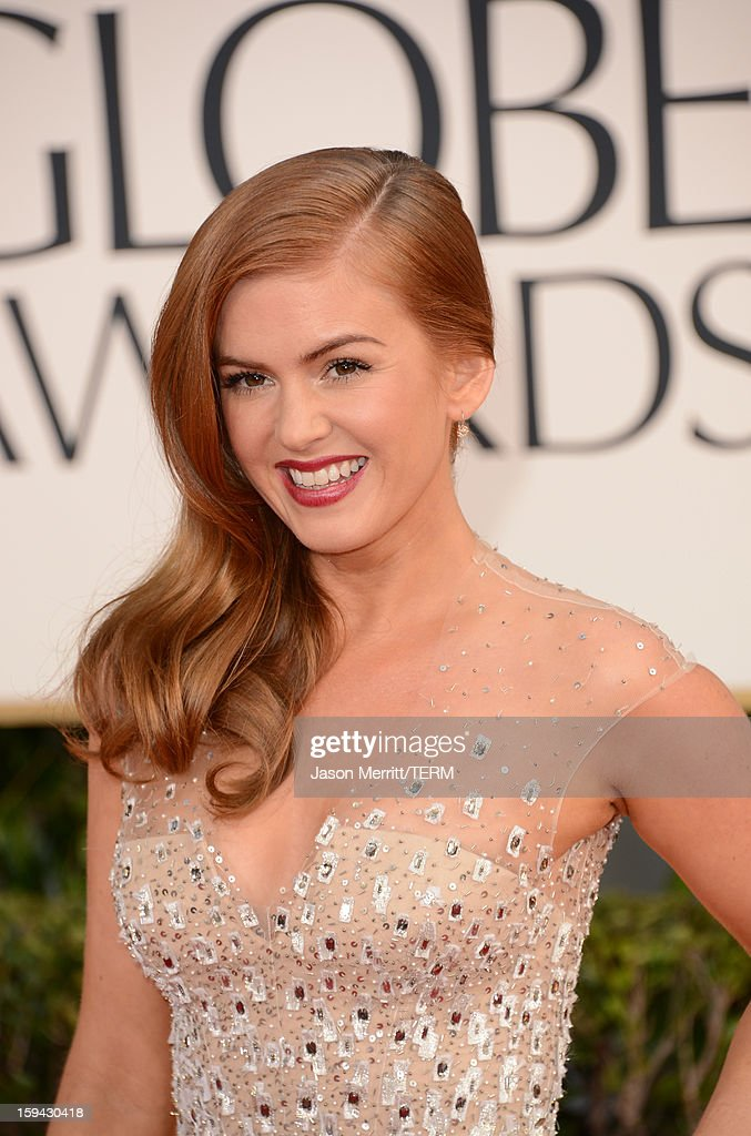 Actress Isla Fisher arrives at the 70th Annual Golden Globe Awards held at The Beverly Hilton Hotel on January 13, 2013 in Beverly Hills, California.