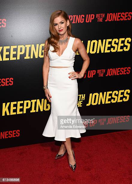 Actress Isla Fisher arrives at the premiere of 20th Century Fox's 'Keeping Up With The Joneses' at Fox Studios on October 8 2016 in Los Angeles...