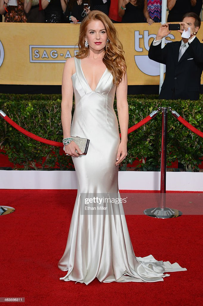 Actress <a gi-track='captionPersonalityLinkClicked' href=/galleries/search?phrase=Isla+Fisher&family=editorial&specificpeople=220257 ng-click='$event.stopPropagation()'>Isla Fisher</a> attends the 20th Annual Screen Actors Guild Awards at The Shrine Auditorium on January 18, 2014 in Los Angeles, California.