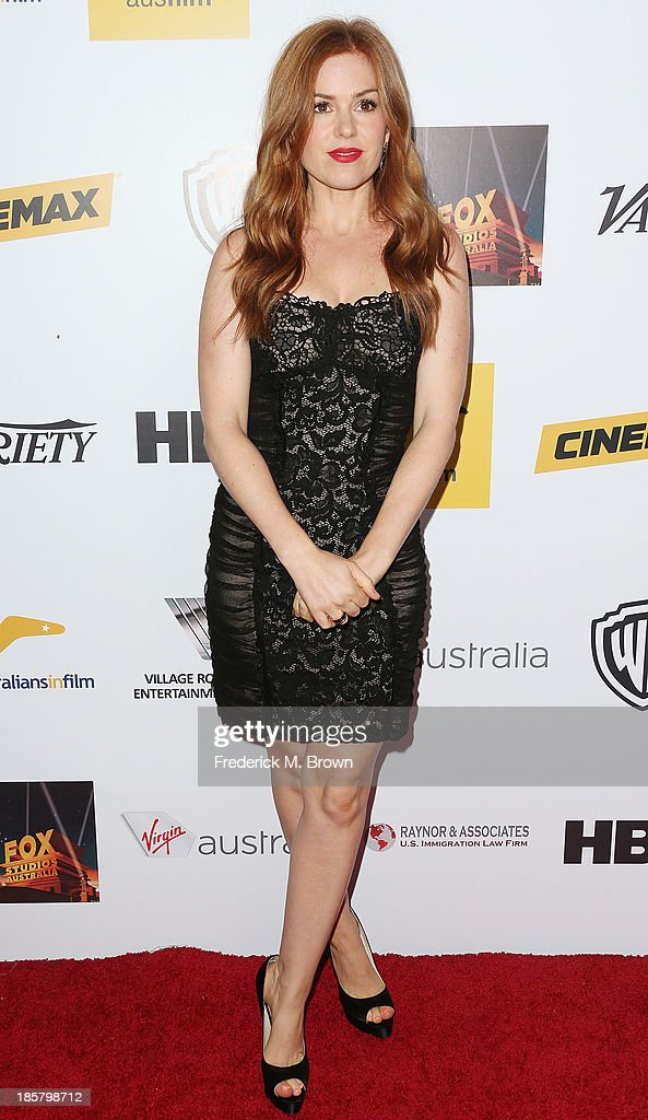 Actress <a gi-track='captionPersonalityLinkClicked' href=/galleries/search?phrase=Isla+Fisher&family=editorial&specificpeople=220257 ng-click='$event.stopPropagation()'>Isla Fisher</a> attends the Australians in Film Benefit Dinner at the at Intercontinental Hotel on October 24, 2013 in Beverly Hills, California.