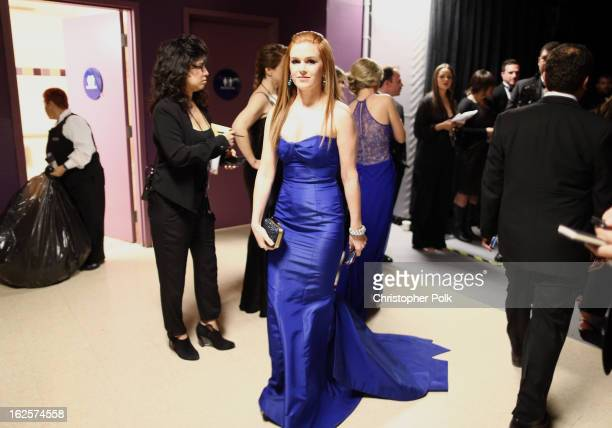 Actress Isla Fisher backstage during the Oscars held at the Dolby Theatre on February 24 2013 in Hollywood California