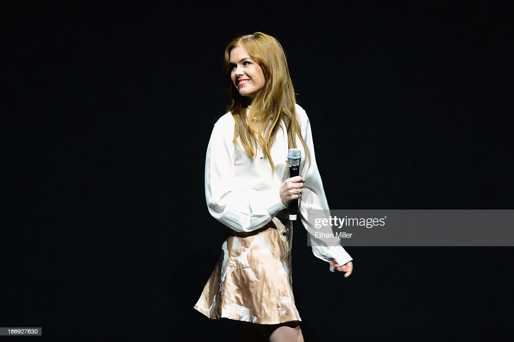 Actress Isla Fisher speaks during a Lionsgate Motion Picture Group presentation to promote the upcoming film 'Now You See Me' at The Colosseum at Caesars Palace during CinemaCon, the official convention of the National Association of Theatre Owners, on April 18, 2013 in Las Vegas, Nevada.
