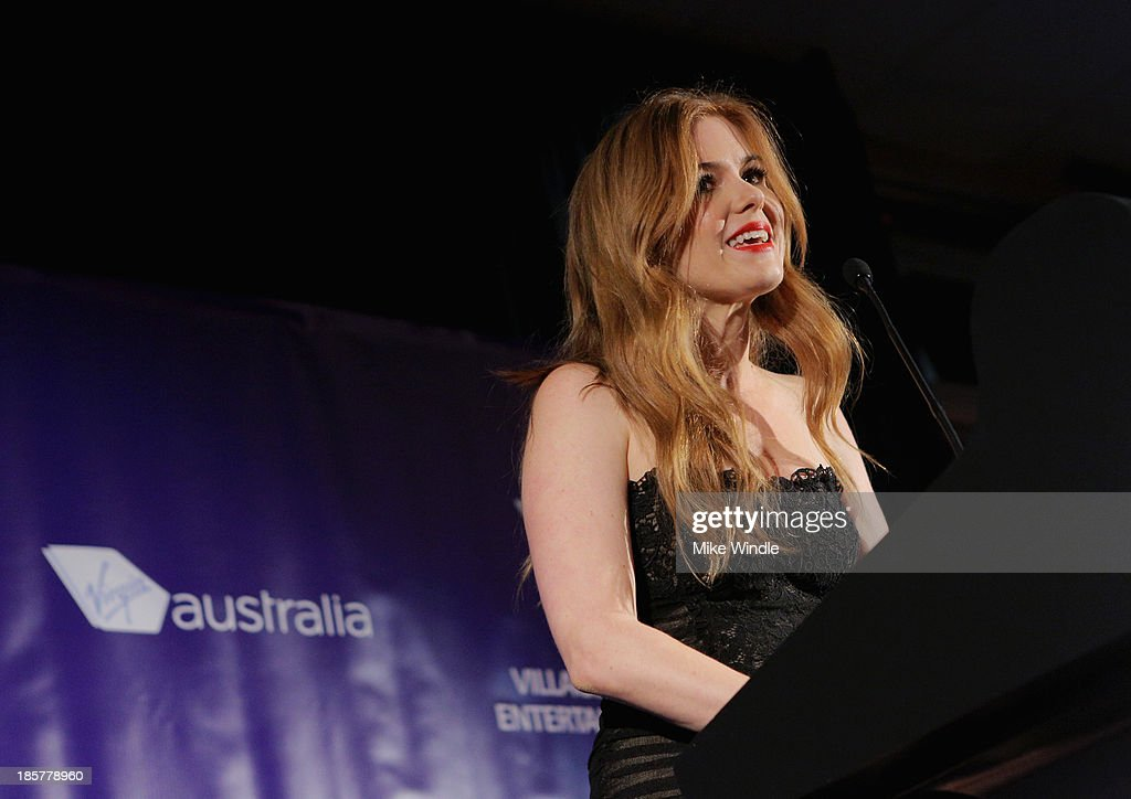 Actress <a gi-track='captionPersonalityLinkClicked' href=/galleries/search?phrase=Isla+Fisher&family=editorial&specificpeople=220257 ng-click='$event.stopPropagation()'>Isla Fisher</a> speaks onstage at the 2nd Annual Australians in Film Awards Gala at Intercontinental Hotel on October 24, 2013 in Beverly Hills, California.
