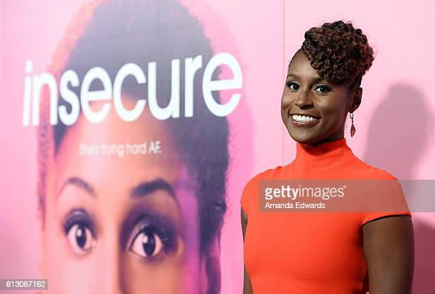 Actress Issa Rae arrives at the premiere of HBO's 'Insecure' at the Nate Holden Performing Arts Center on October 6 2016 in Los Angeles California