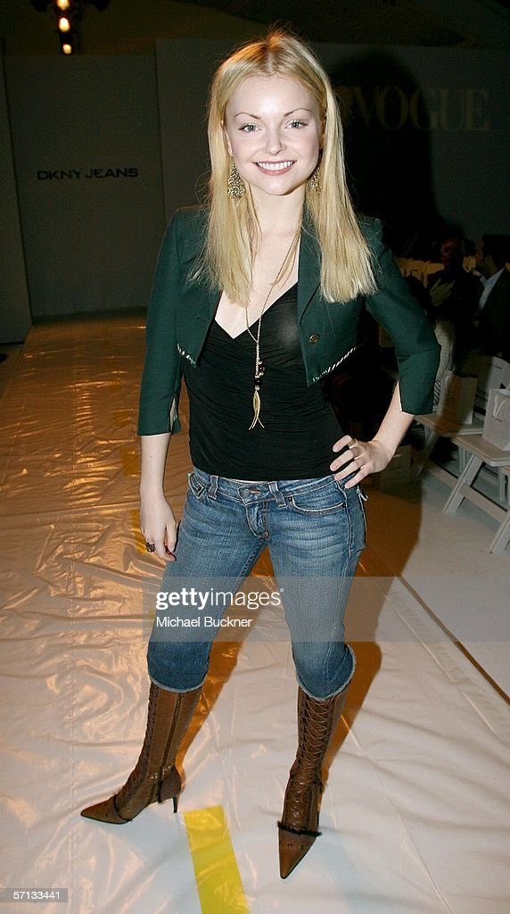 Actress Izabella Miko in the front row at the runway at the Teen Vogue and DKNY JEANS Fall 2006 show during Mercedes-Benz Fashion Week at Smashbox Studios on March 19, 2006 in Culver City, California.