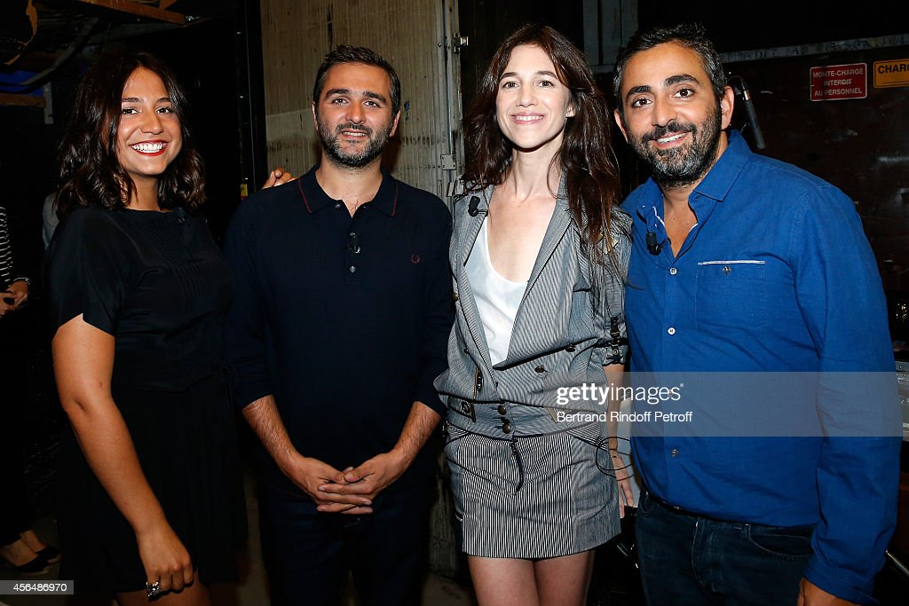 Actress Izia Higelin, director Olivier Nakache, actress Charlotte Gainsbourg and director Eric Toledano attend the 'Vivement Dimanche' show at Pavillon Gabriel on October 1, 2014 in Paris, France.
