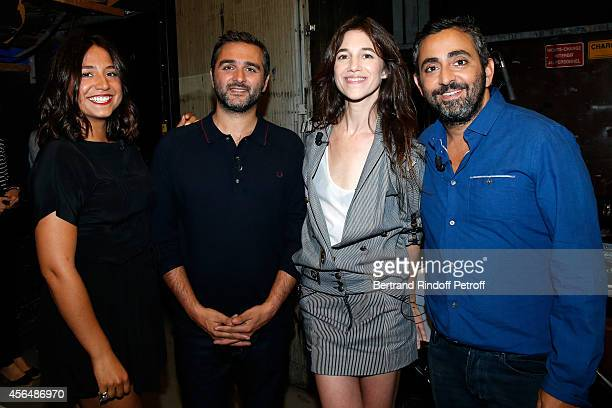 Actress Izia Higelin director Olivier Nakache actress Charlotte Gainsbourg and director Eric Toledano attend the 'Vivement Dimanche' show at Pavillon...