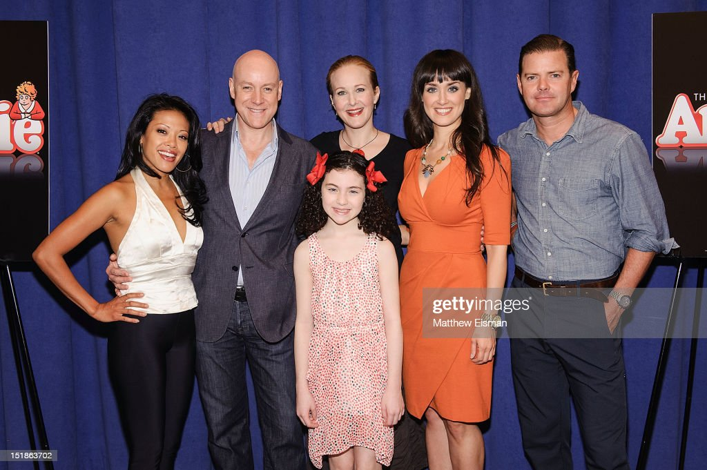 Actress J Elaine Marcos actor Anthony Warlow actress Lilla Crawford actress Katie Finneran actress Brynn O'Malley and actor Clarke Thorell attend the...