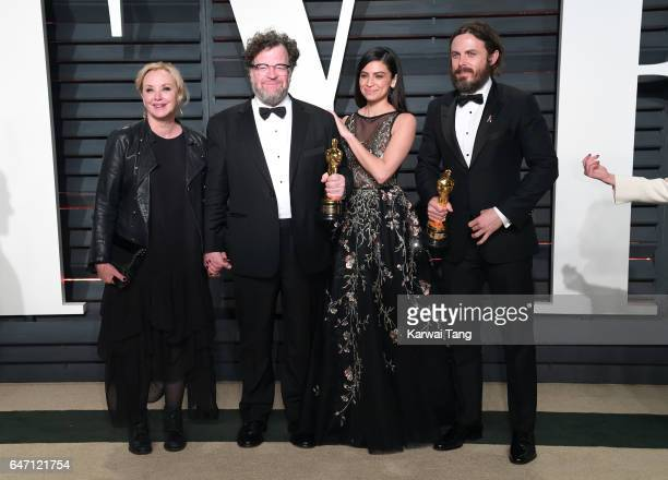 Actress J SmithCameron writerdirector Kenneth Lonergan actor Floriana Lima and actor Casey Affleck attend the Vanity Fair Oscar Party hosted by...