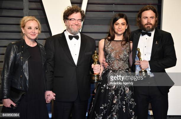 Actress J SmithCameron writerdirector Kenneth Lonergan actress Floriana Lima and actor Casey Affleck arrive at the Vanity Fair Oscar Party in Beverly...