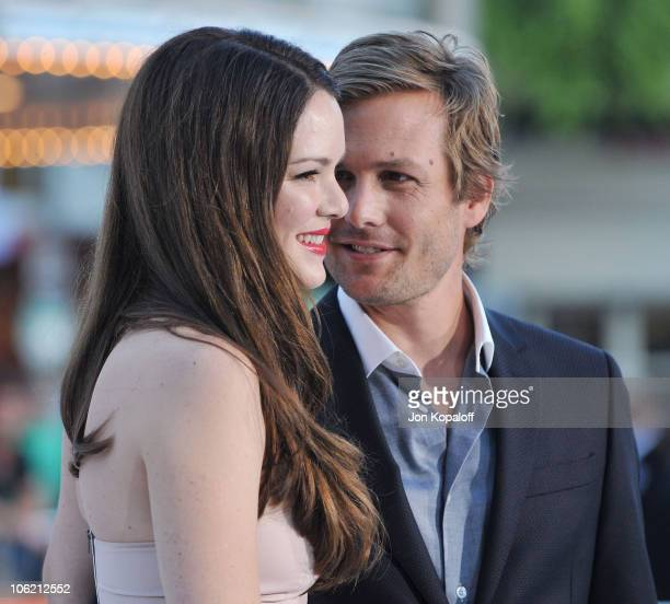 Actress Jacinda Barrett and husband actor Gabriel Macht arrive at the Los Angeles Premiere 'Whiteout' at Mann Village Theatre on September 9 2009 in...