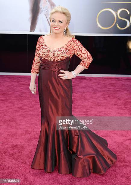 Actress Jacki Weaver arrives at the Oscars at Hollywood Highland Center on February 24 2013 in Hollywood California