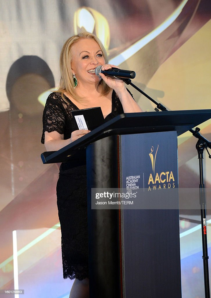 Actress Jacki Weaver speaks onstage during the Australian Academy of Cinema and Television Arts' 2nd AACTA International Awards at Soho House on January 26, 2013 in West Hollywood, California.