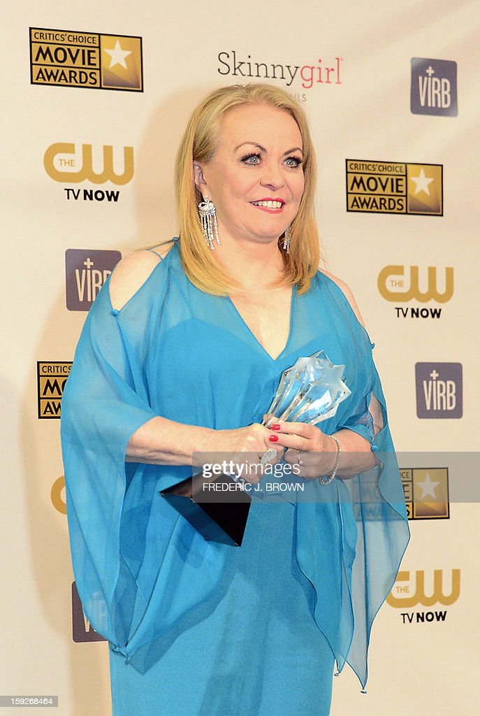Actress Jacki Weaver, who won Best Acting Ensemble for 'Silver Linings Playbook,' holds her trophy in the press room during the 18th Annual Critics' Choice Movie Awards in Santa Monica on January 10, 2013 in California. AFP PHOTO / Frederic J. BROWN