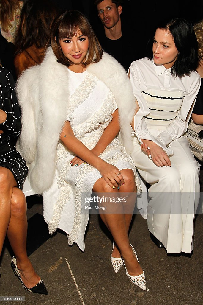 Actress Jackie Cruz (L) and DJ Leigh Lezark attend the Christian Siriano Fall 2016 fashion show during New York Fashion Week at ArtBeam on February 13, 2016 in New York City.