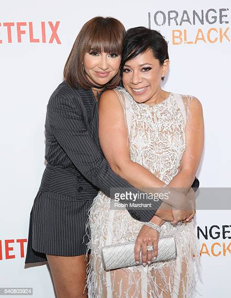 Actress Jackie Cruz and Selenis Leyva attend 'Orange Is The New Black' New York City Premiere at SVA Theater on June 16 2016 in New York City
