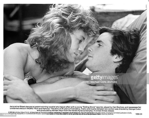 Actress Jacqueline Bisset and actor Hart Bochner on set of the MGM movie 'Rich and Famous' in 1981