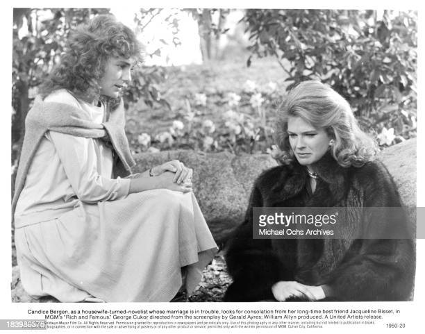 Actress Jacqueline Bisset and Candice Bergen on set of the MGM movie 'Rich and Famous' in 1981