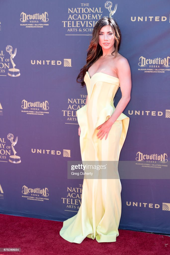 Actress Jacqueline MacInnes Wood arrives at the 44th Annual Daytime Emmy Awards at Pasadena Civic Auditorium on April 30, 2017 in Pasadena, California.