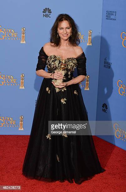 Actress Jacquline Bisset poses in the press room during the 71st Annual Golden Globe Awards held at The Beverly Hilton Hotel on January 12 2014 in...