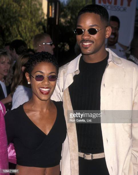 Actress Jada Pinkett and actor Will Smith attend 'The Nutty Professor' Universal City Premiere on June 27 1996 at Universal Amphitheatre in Universal...