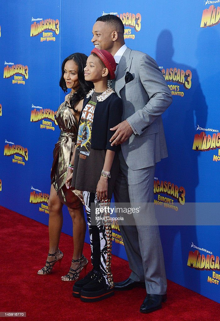 Actress Jada Pinkett and actress/singer Willow Smith, and actor Will Smith attend the 'Madagascar 3: Europe's Most Wanted' New York Premier at Ziegfeld Theatre on June 7, 2012 in New York City.