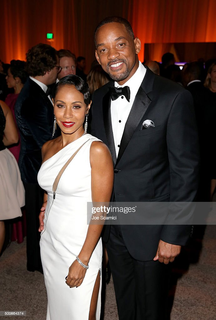 Actress Jada Pinkett Smith (L) and actor Will Smith attend The Diamond Ball II with D'USSE and Armand de Brignac at The Barker Hanger on December 10, 2015 in Santa Monica, California.