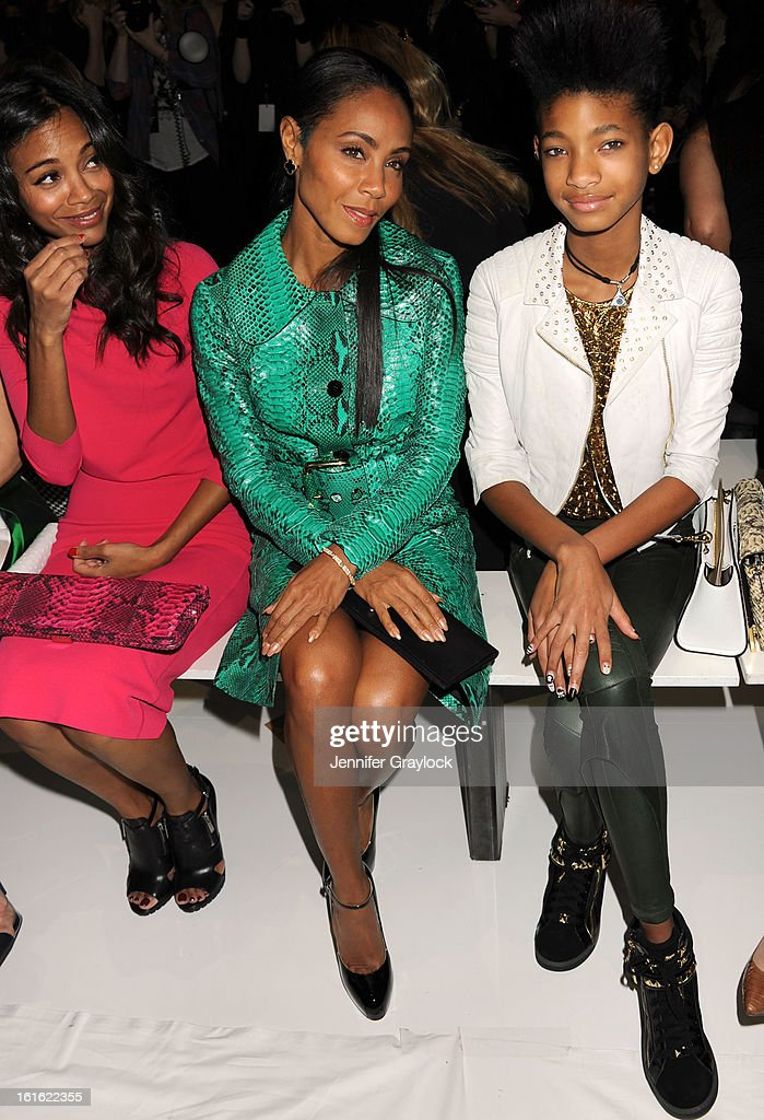 Actress <a gi-track='captionPersonalityLinkClicked' href=/galleries/search?phrase=Jada+Pinkett+Smith&family=editorial&specificpeople=201837 ng-click='$event.stopPropagation()'>Jada Pinkett Smith</a> and daughter <a gi-track='captionPersonalityLinkClicked' href=/galleries/search?phrase=Willow+Smith&family=editorial&specificpeople=869488 ng-click='$event.stopPropagation()'>Willow Smith</a> front row during the Michael Kors Fall 2013 Mercedes-Benz Fashion Show at The Theater at Lincoln Center on February 13, 2013 in New York City.