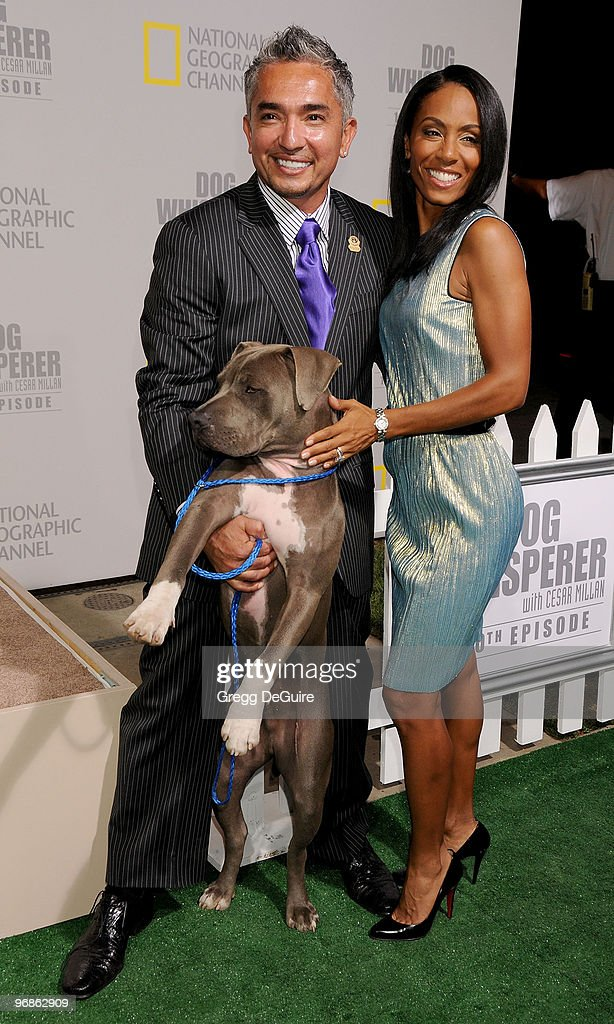 Actress Jada Pinkett Smith and Dog Behavior Specialist Cesar Millan arrive at the celebration for the 100th Episode Of 'Dog Whisperer' With Cesar...