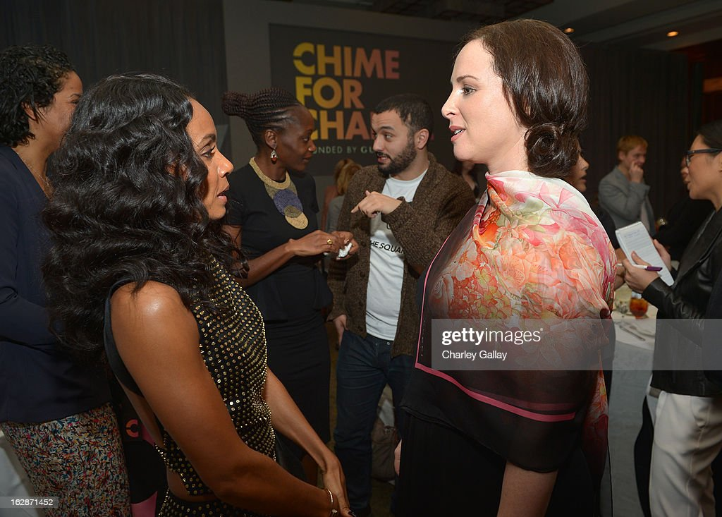 Actress Jada Pinkett Smith (L) and filmmaker and author Joanna Lipper attend the launch of Chime for Change, founded by Gucci, at TED held at The Westin on February 28, 2013 in Long Beach, California.